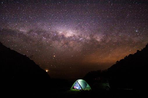 Camping Under The Starry Sky, Aorangi Forest Park, Wairarapa, New Zealand.